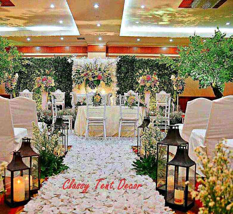 Dekorasi pernikahan background bunga